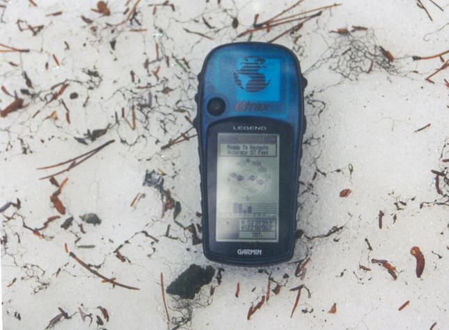 GPS and moss on snow near the confluence