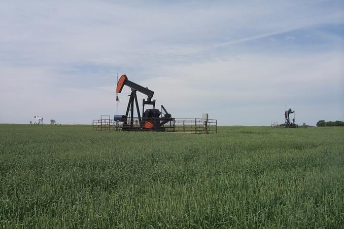 Pump jacks in a grain field 3.3 km from the confluence.