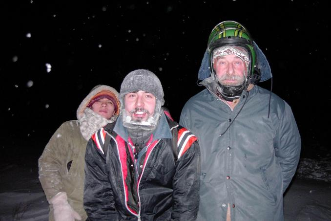 Maria, Erwin, and Gerhard at the confluence around 5:35PM.  Weather deteriorating fast.