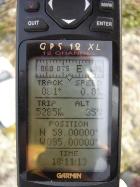 GPS at the confluence, datum set at WGS 84 and +/- 4.5m on save waypoint page.