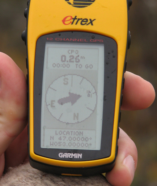 GPS reading at confluence point.