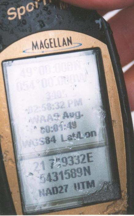 GPS Reading of 49.00.000 N and 54.00.000W