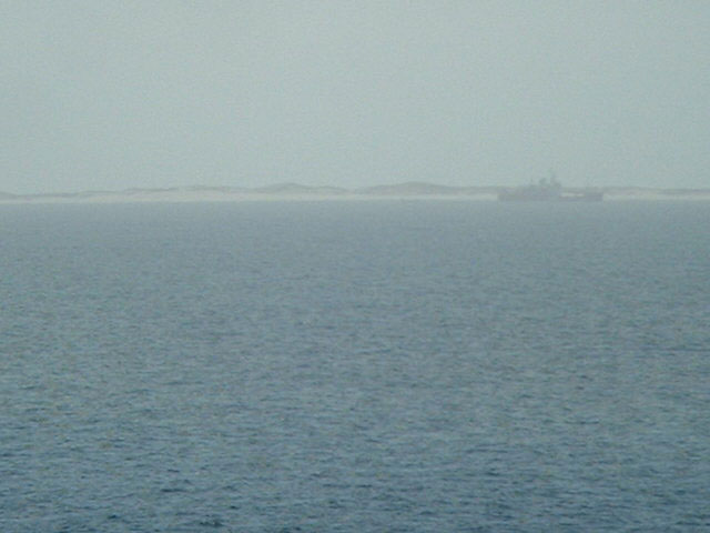Sable Island seen from the confluence, off the coast a Canadian research vessel