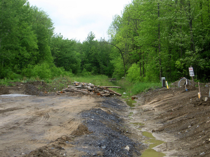 The ditch at the end of Ault Drive.