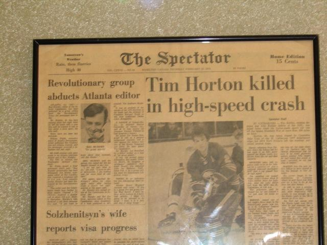The old newspaper with the article about Tim Horton's death at the Cochrane's Tim Hortons doughnut shop