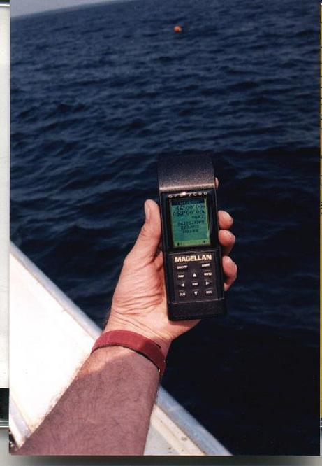 GPS reading at the confluence with lobster dog trawl buoy in background