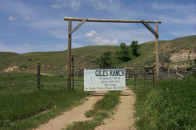 Padlocked Giles Ranch gate.