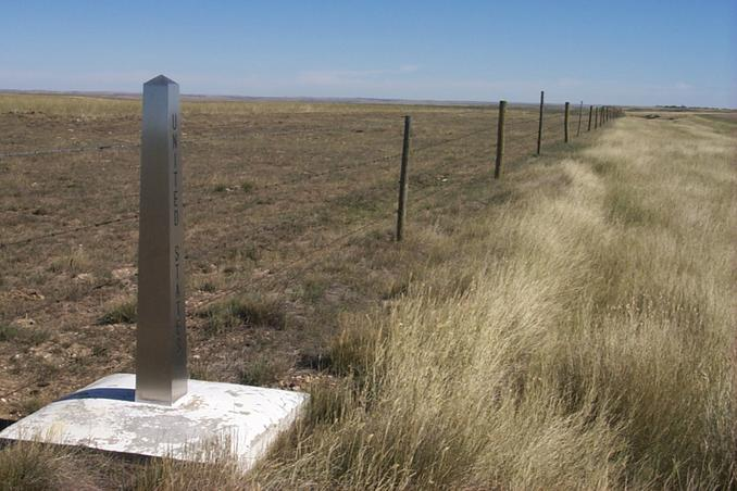 The view east of the stainless steel border monument about two kilometers east of the confluence.