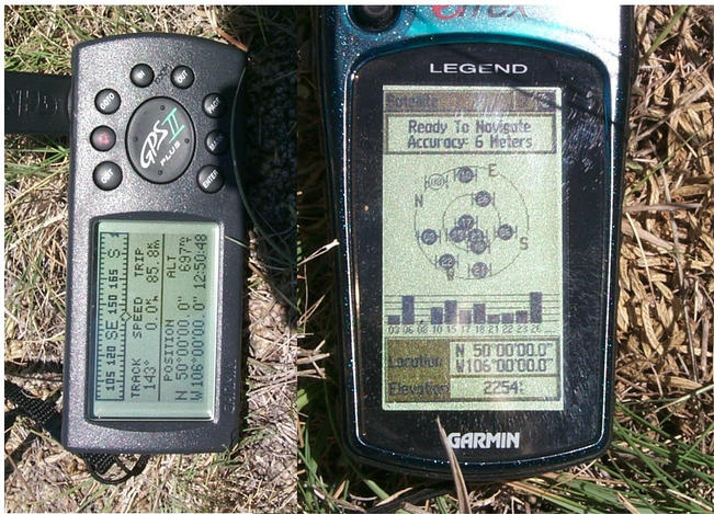 GPS readings taken about five meters apart.
