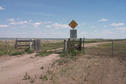 #7: Texas cattle gate at entrances to pasture. Old Wives Lake seen on left in background.