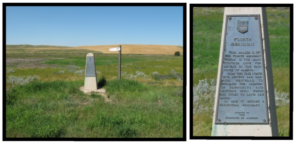 Fourth Meridian Monument beside the Trans-Canada Highway.