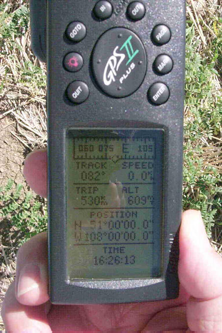 "The GPS showing ""the spot""."