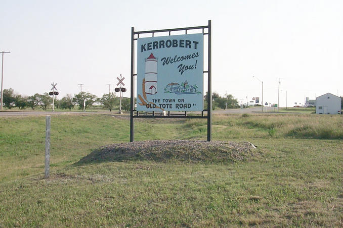 "The Kerrobert town sign.  We could find no reference to what the ""Old Tote Trail"" is ..."