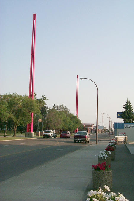 Two of the four border/meridian markers in Lloydminster.