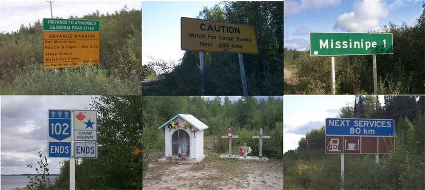 Signs and shrines along the CANAM Highway.