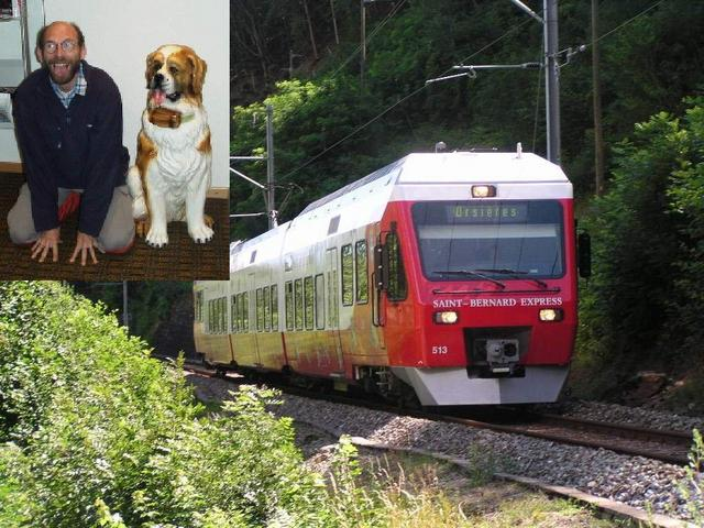 Train of the St. Bernard-Express and Dr. Werner with a Saint-Bernard dog