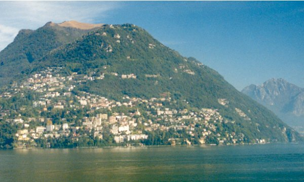 Looking northwest across Lake Lugano, the city of Lugano lies adjacent to the confluence.