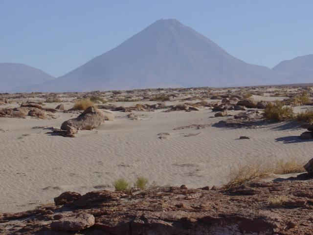 Looking northeast towards confluence (6.13 kilometres away) and Licancabur Volcano
