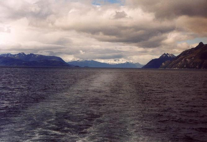 South: Magdalena Strait and Mount Sarmiento in the clouds