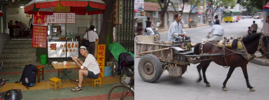 Breakfast and a pony cart in Nanning