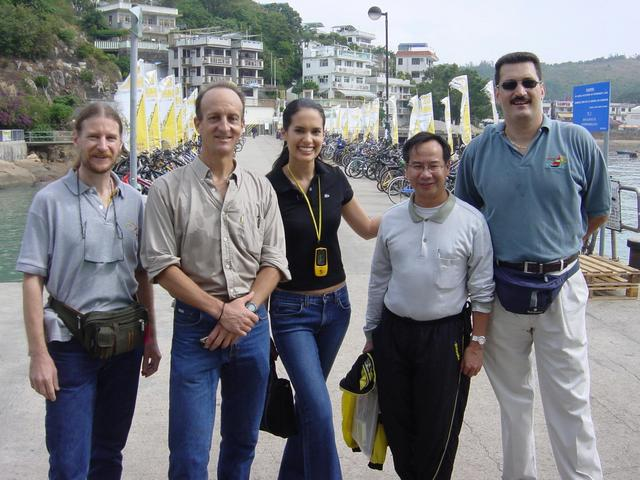 Yung Shue Wan pier, Lamma Island. Left to right: Targ, Richard, Kristie, Kevin, Tony.