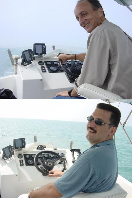 Richard and Tony taking turns at the helm.