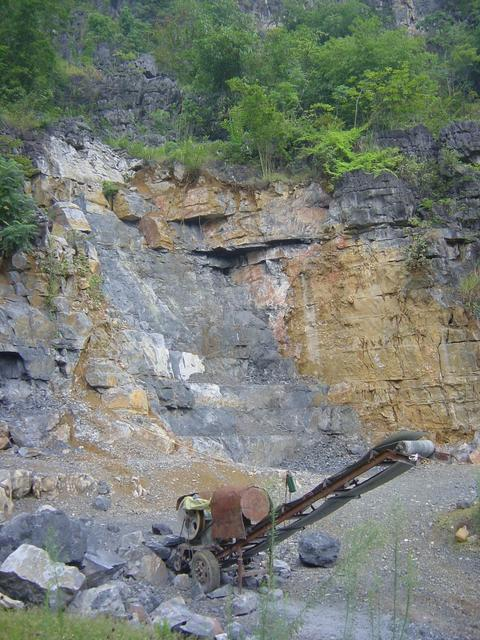 Quarrying the karst mountain near the confluence
