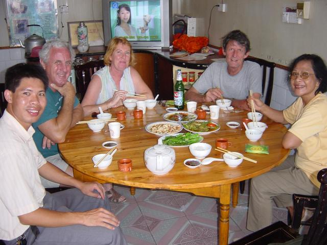 Celebratory lunch in Datang Township: (left to right) Huang Haili, Brian, Lynne, Jim, Nur