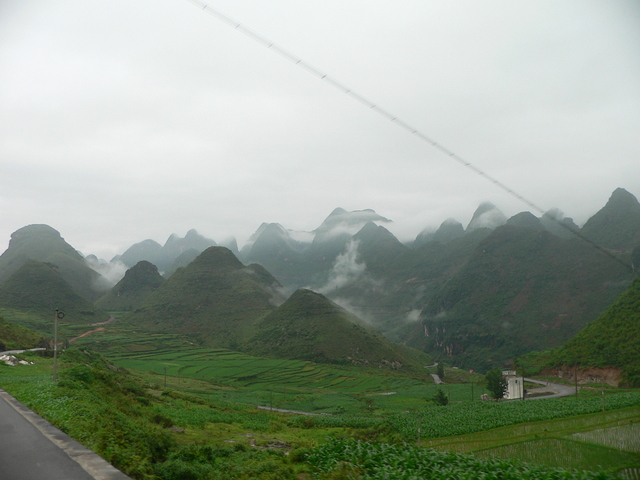 We travelled through some very Guìlín-like karst mountains.