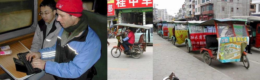 Writing up the reports on the train - Rongshui's motorcycle taxis