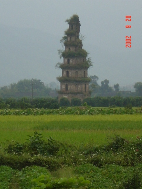 An ancient pagoda near Cushijiang.