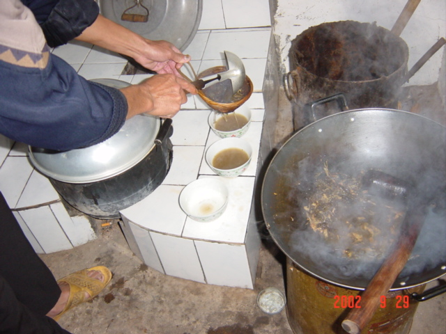 "Making ""da you cha"" (oil tea)."