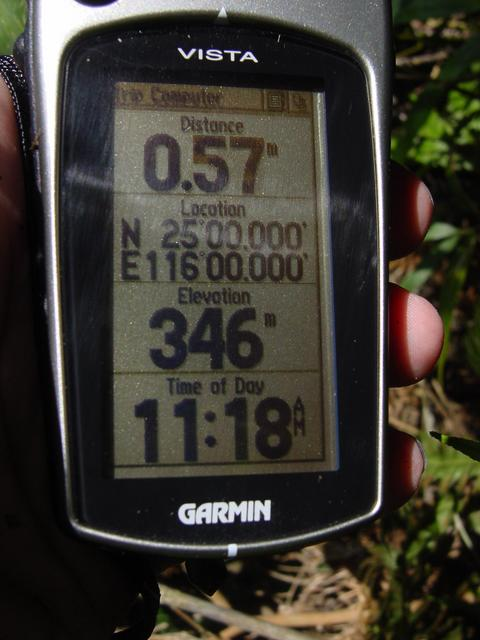 GPS readings - Distance: 0.57 metres; Location: N 25°00.000', E 116°00.000'; Elevation: 346 metres; Time of Day: 11:18 a.m.