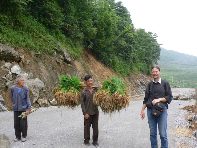 The local who saved Targ from the two vicious dogs, carrying some rice plants ready for replanting.