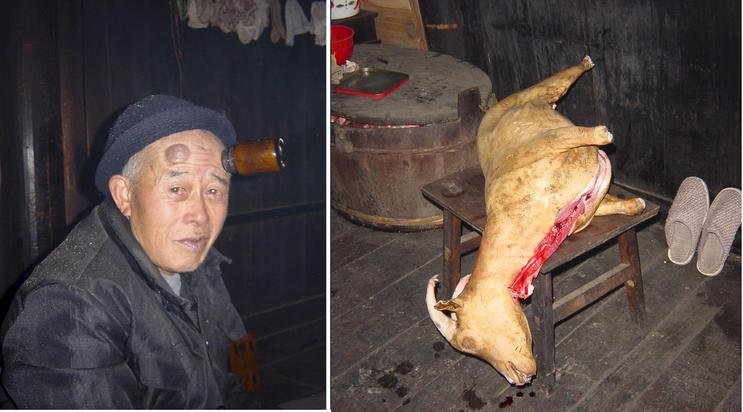 Grangpa Meng with a massive headache and the Spring Festival freshly slaughtered goat