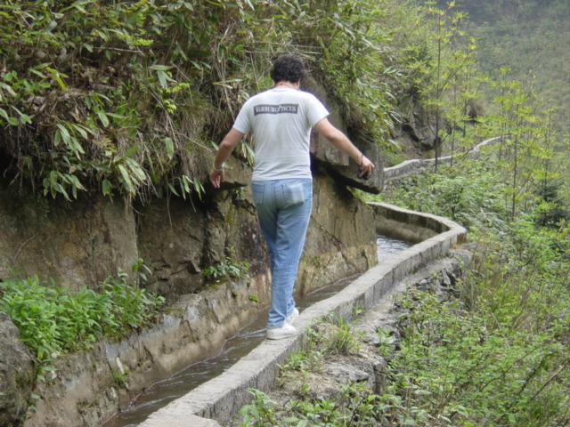 Tony traversing the aqueduct--a balancing act extraordinaire