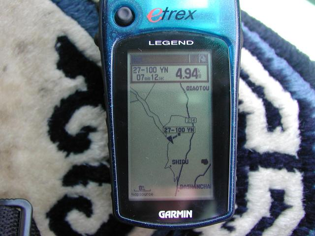 GPS with Map details the CP located above the river bend