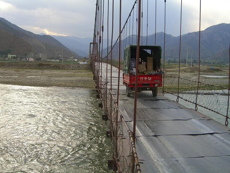 The bridge at the entrance to the mountains from Xichang.