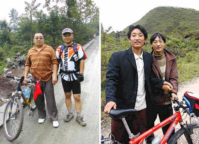 Two touring cyclists met on the road and the two Yi young men who accompanied me on the way to the confluence.