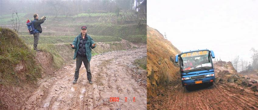 "Peter Cao (left) trying to ""zero"" the GPS and Richard Jones on the Confluence Point in the middle of the muddy road with two GPSs zeroed to prove it - Muddy roads in the back waters of Chongqing."