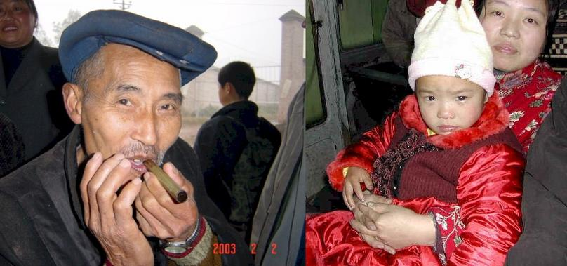 Portraits of China: Man enjoying his hand rolled stogie - Mother and child on the bus to visit relatives.