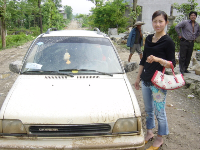 The car and driver I hired for the three-and-a-half-hour, 35-kilometre journey from Longtan to Youyang