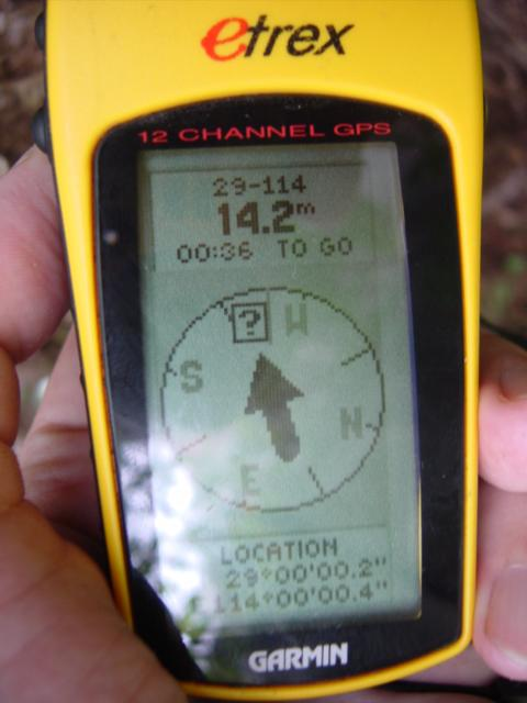 "N 29°00'00.2"", E 114°00'00.4"", 14.2 metres shy of the mark"