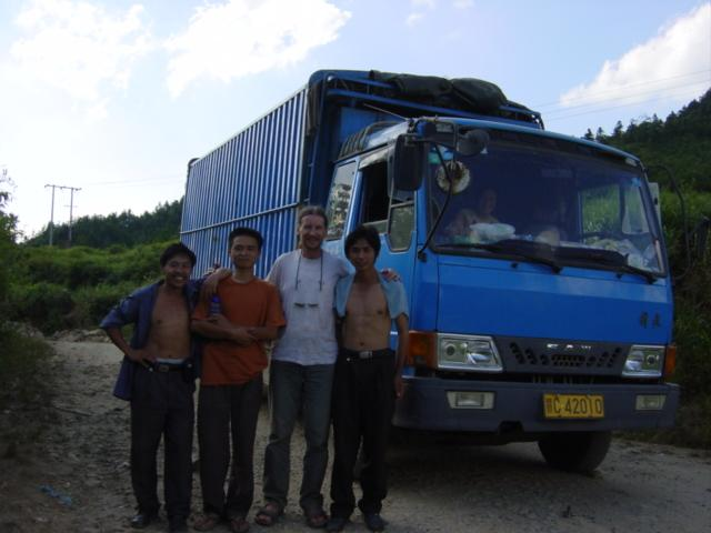 Truck carrying bamboo scaffolding, in which I got a lift from Maozhushan to Zhongyuan