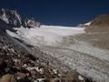 #5: Glacier encountered at saddle (just to left of mountain in caption 1)