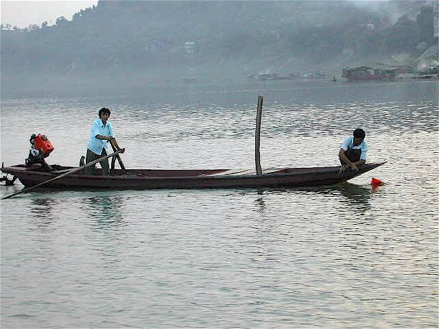 Fishing boat on the river at Sanhui