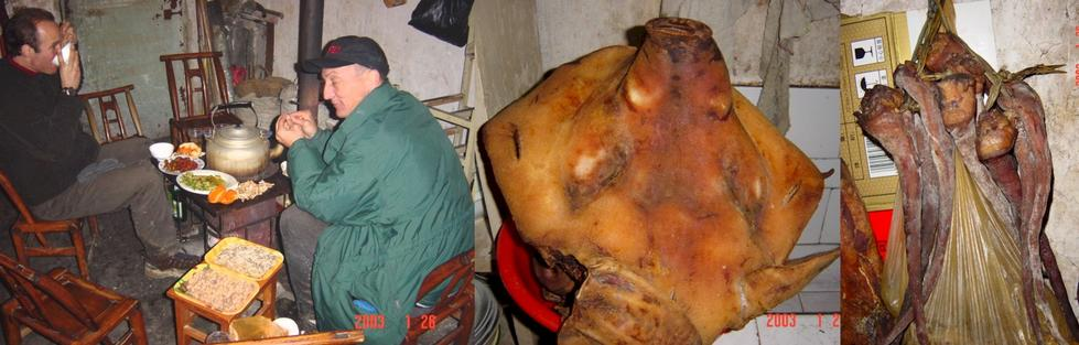 Peter Cao (left) and Richard Jones eating dinner around the pot-belly stove - Pig face in a bucket - Pig tails on the wall