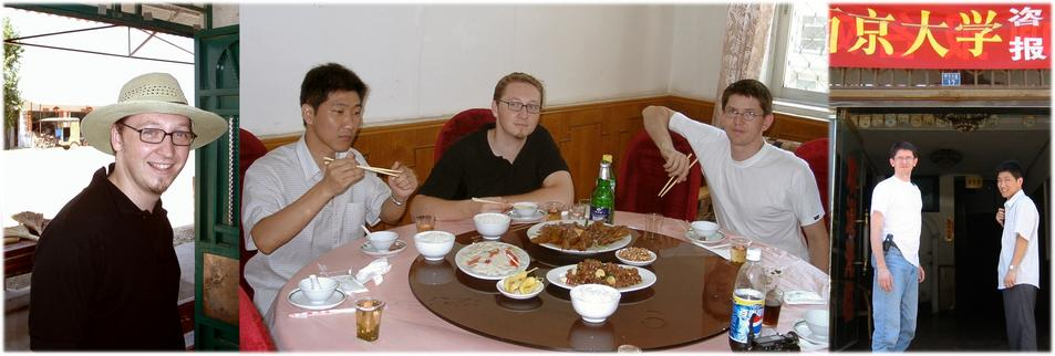 Lunch at HUANGPI (Jürgen; Fan Bi Wei, Jürgen, Helmut; Helmut & Fan Bi Wei)