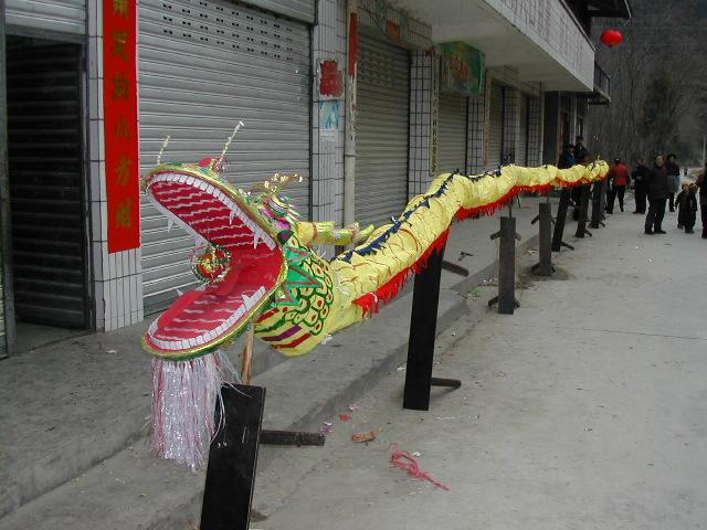 Spring Festival (aka Chinese New Year) Dragon undergoing last minute preparations before the dance
