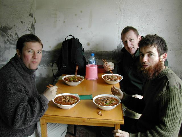 Richard, Tony and Andrew enjoying the Breakfast of Champions in Maoxian